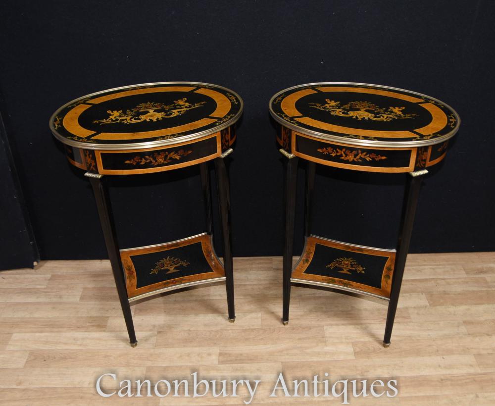 Cocktail de tables latérales ovales laquées Empire