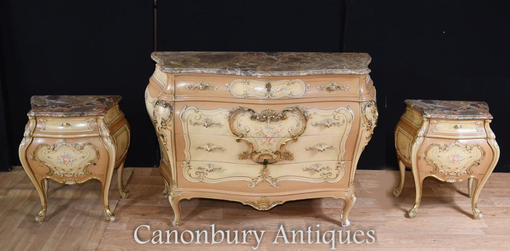 commode de chevet en bombe peinte de style louis xvi commodes de nuit. Black Bedroom Furniture Sets. Home Design Ideas