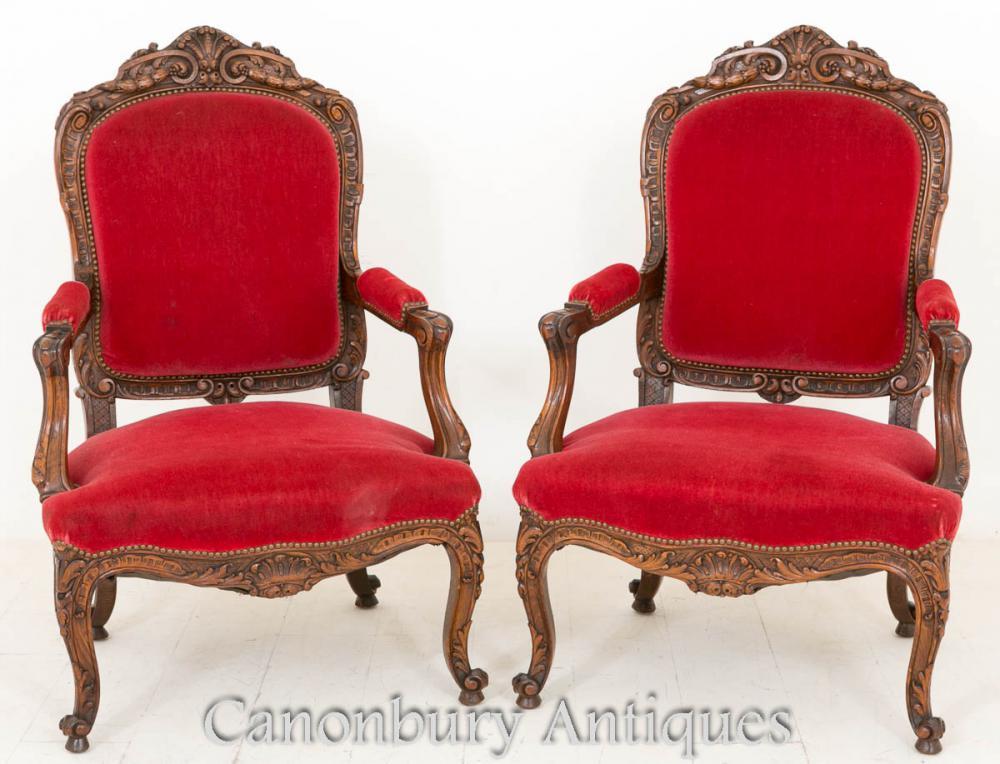 Couple Salon Français noyer Antique chaises fauteuil 1870