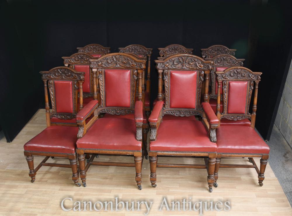 Ensemble 12 chaises chaises en chêne antique dans Gillows Manner 1870