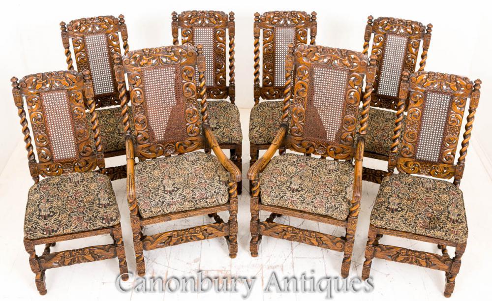 Ensemble de 8 chêne jacobéen à manger chaises ferme meubles 1880