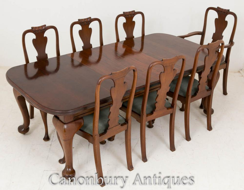 Ensemble de restauration victorienne Tables et chaises en acajou 1900
