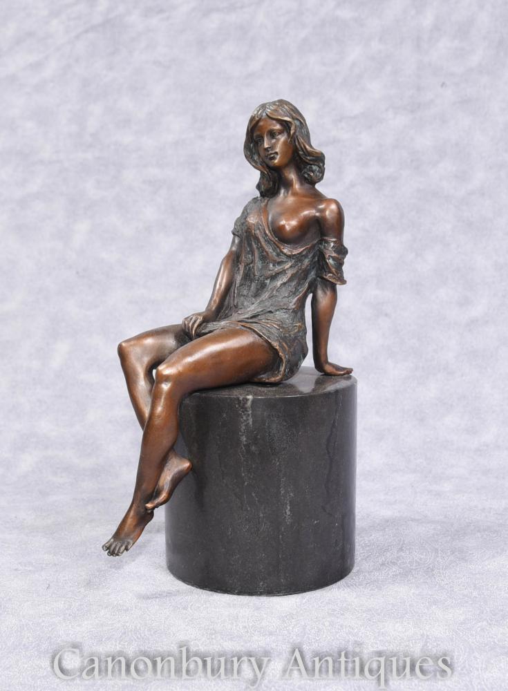 Figurine Art Déco Semi Nude en Bronze sans Plinthe en Marbre