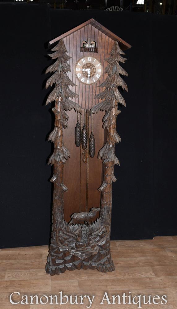 Forêt Noire sculpté à la main Longcase Coucou Bavarois