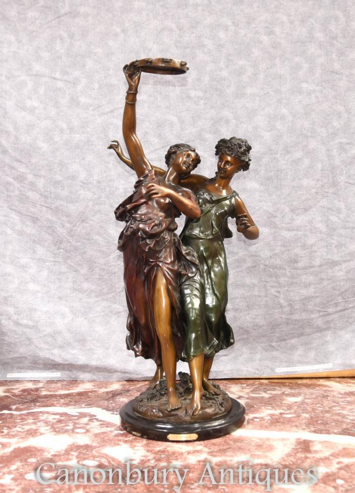 French Bronze Female Bacchus Dancer Figurines par Clodion