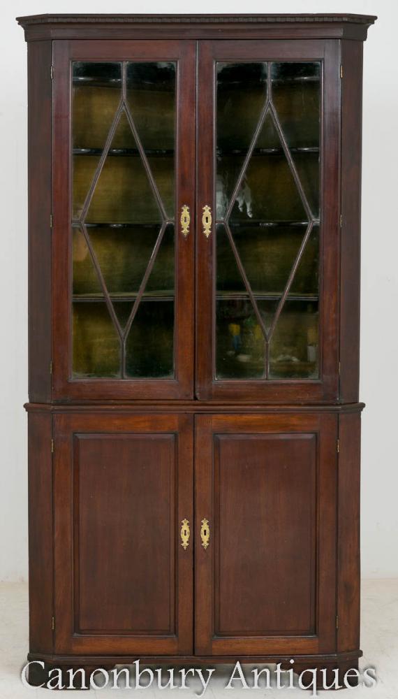 George II acajou coin affichage armoire vitrée 1750