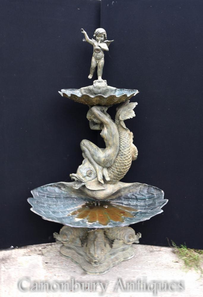 Grande fontaine à gradins en bronze français Cherub Maiden Water Feature