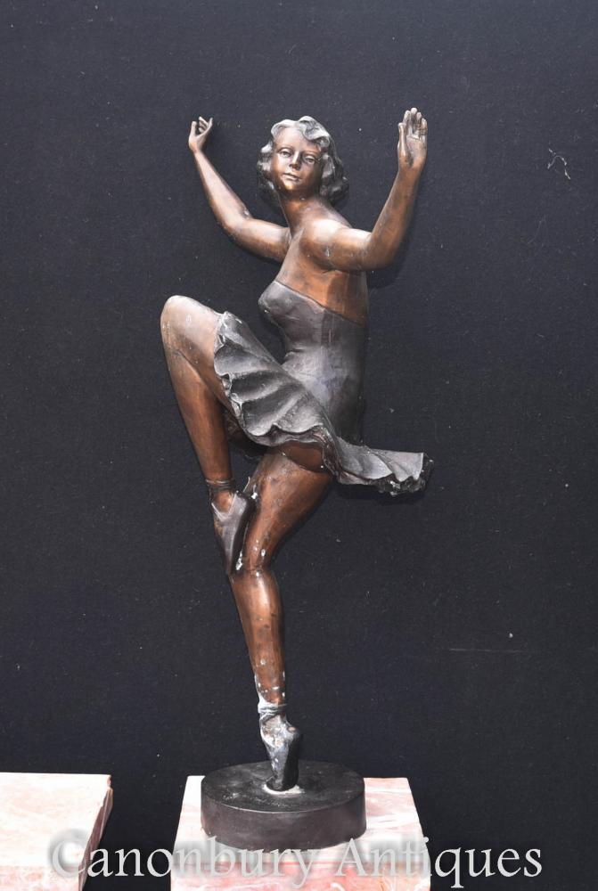 Grande statue de bronze de ballerine d'Art Deco par le danseur de ballet de Chiparus