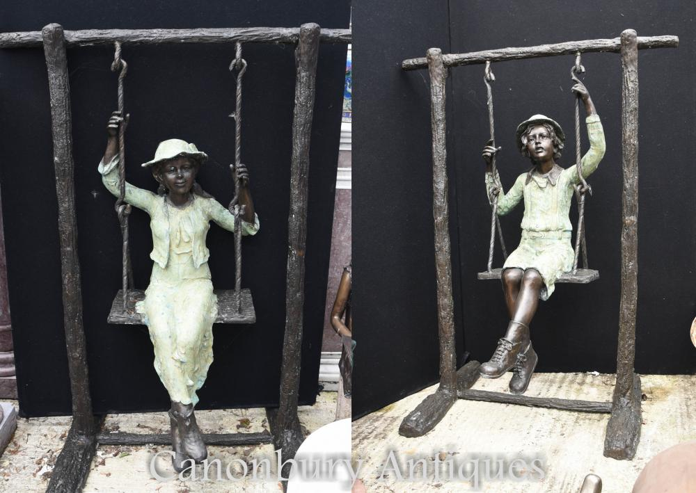 Lifesize Bronze Boy et Girl Swing Garden Statue Casting