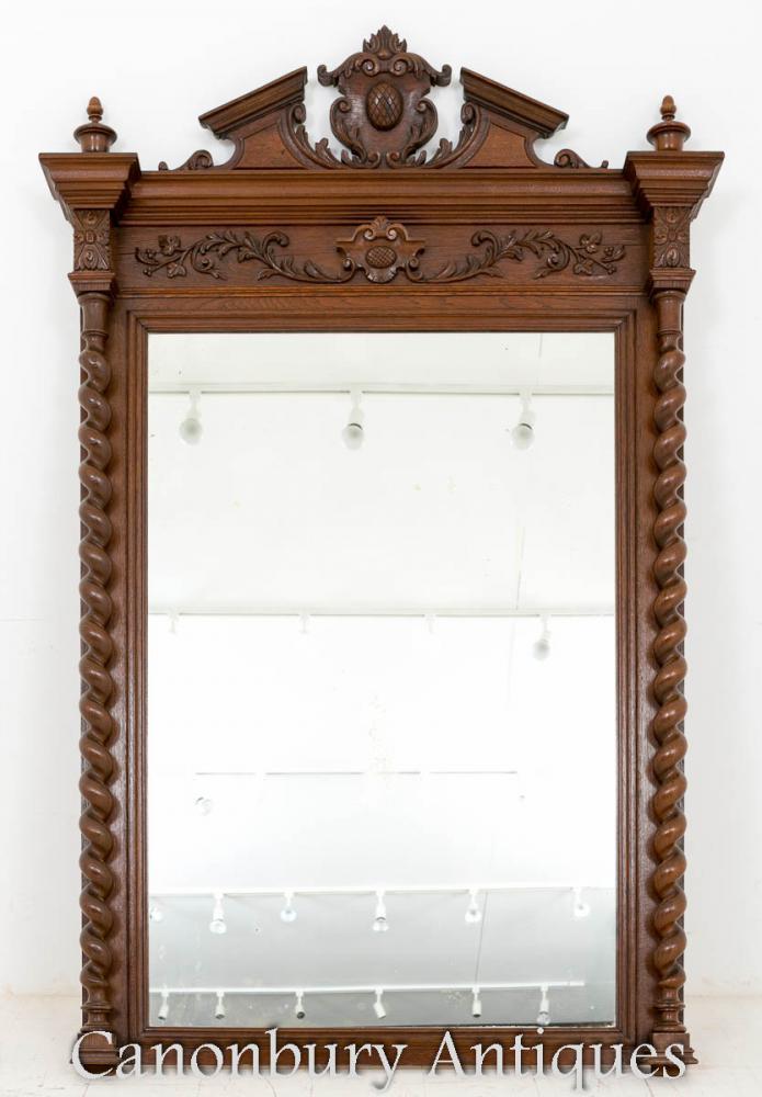 Miroir victorien Oak Pier miroitant à la main