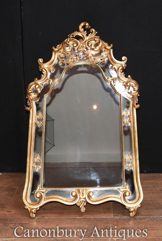 Miroirs en verre à miroir Rococo Gilt Pierres français