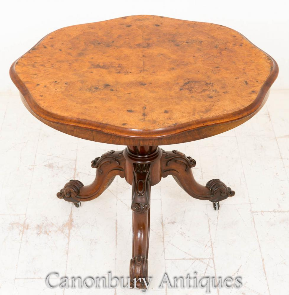 Nambro de table de centre victorien Burr Noyer 1860