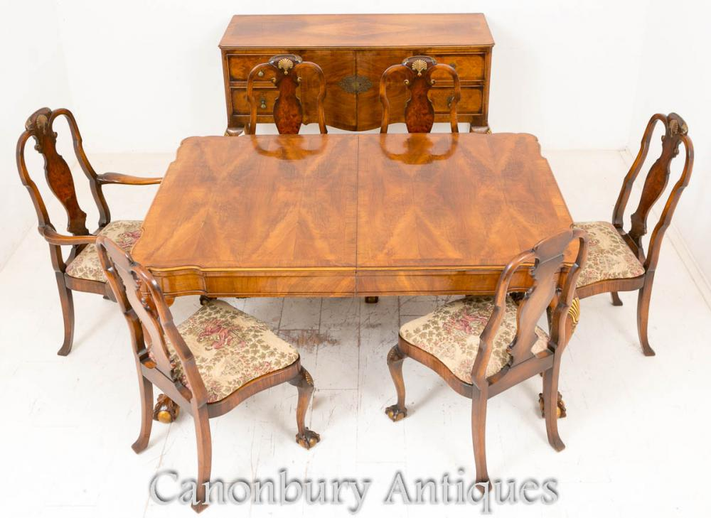 Neuf Queen Anne Dining Suite Table Chaises et Buffet