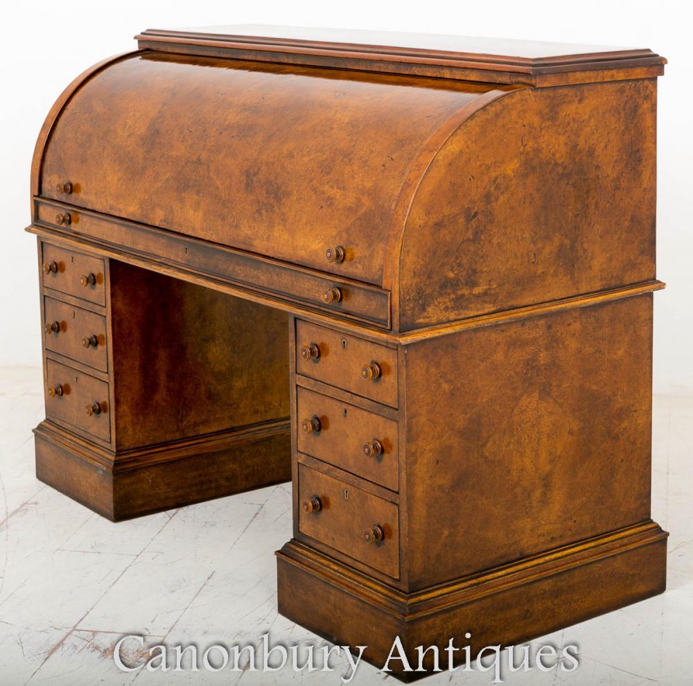 Noyer Victorian Cylinder Desk Bureau 1860
