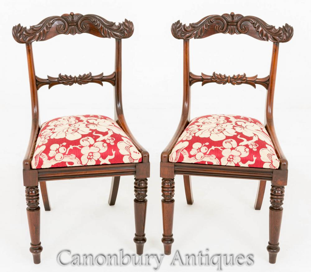 Pair Antique Regency Bras Chaises à Rosewood Dining Chair