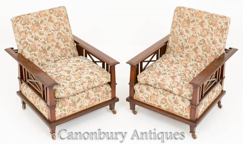 Pair Mahogany Arts and Crafts Chaises inclinables 1910