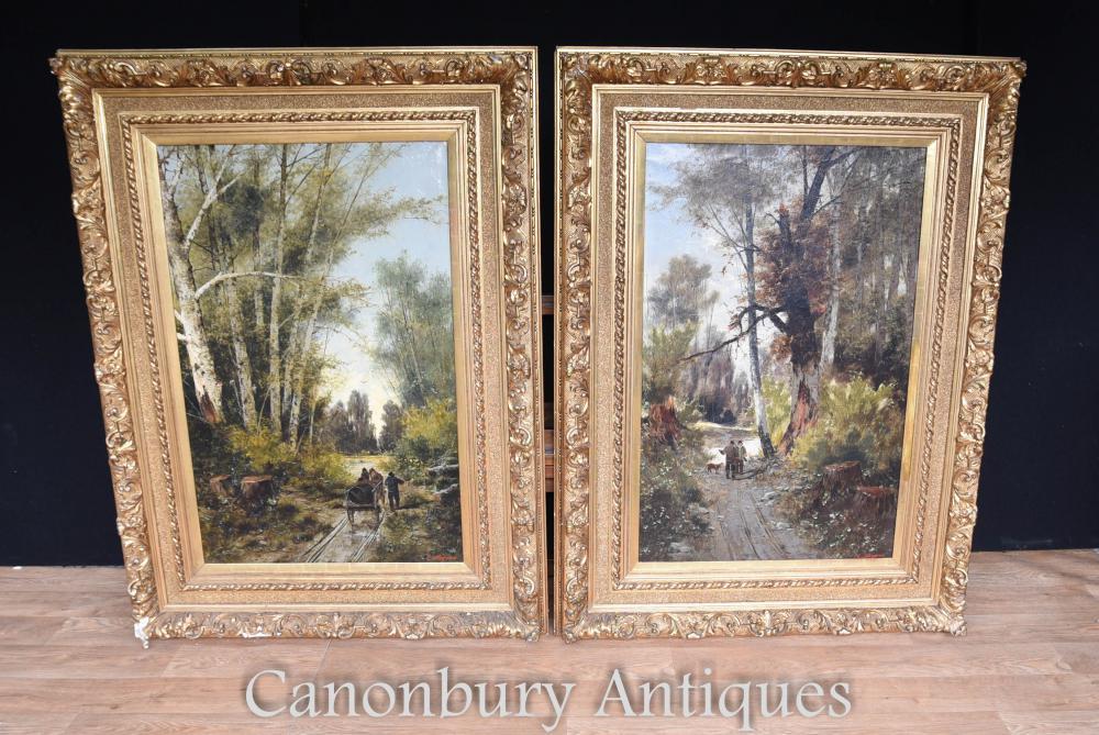 Paire Antique Italian Landscape Peintures à L'huile Signée C.Avagano