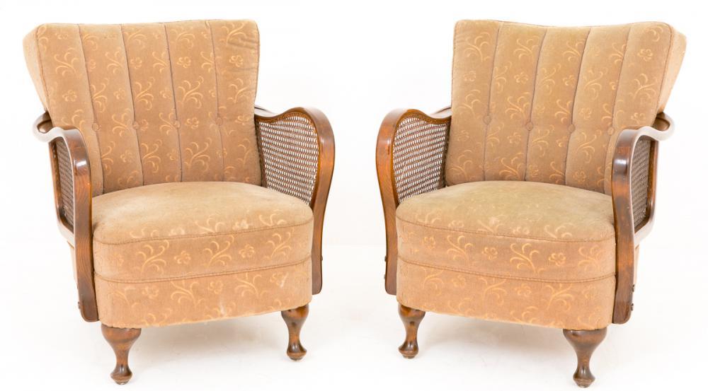 Paire Art Déco Club Arm Chaises Sièges de sofa