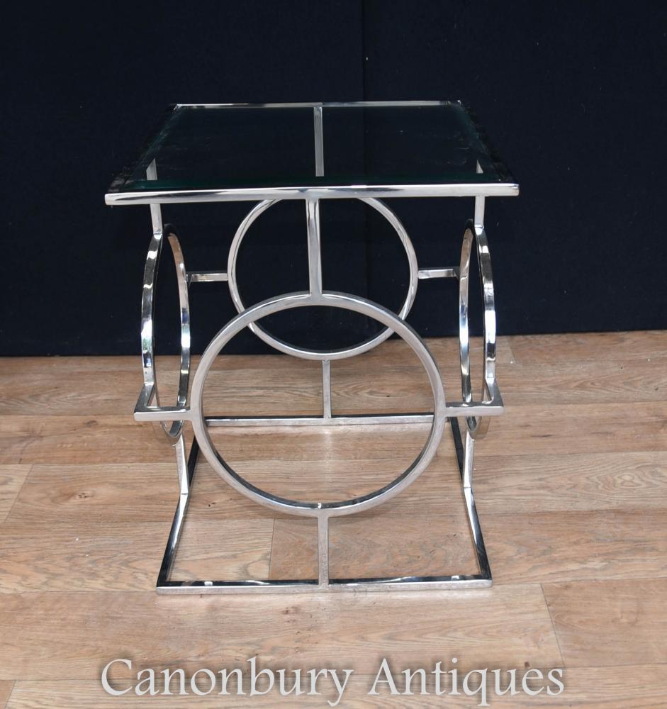 Paire Art Déco Tables d'Appoint en Chrome Miroir en Verre