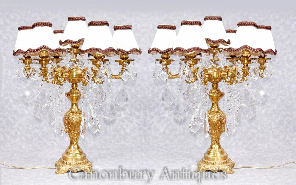 Paire French Empire Gilt Lampes de table Lights Candelabras
