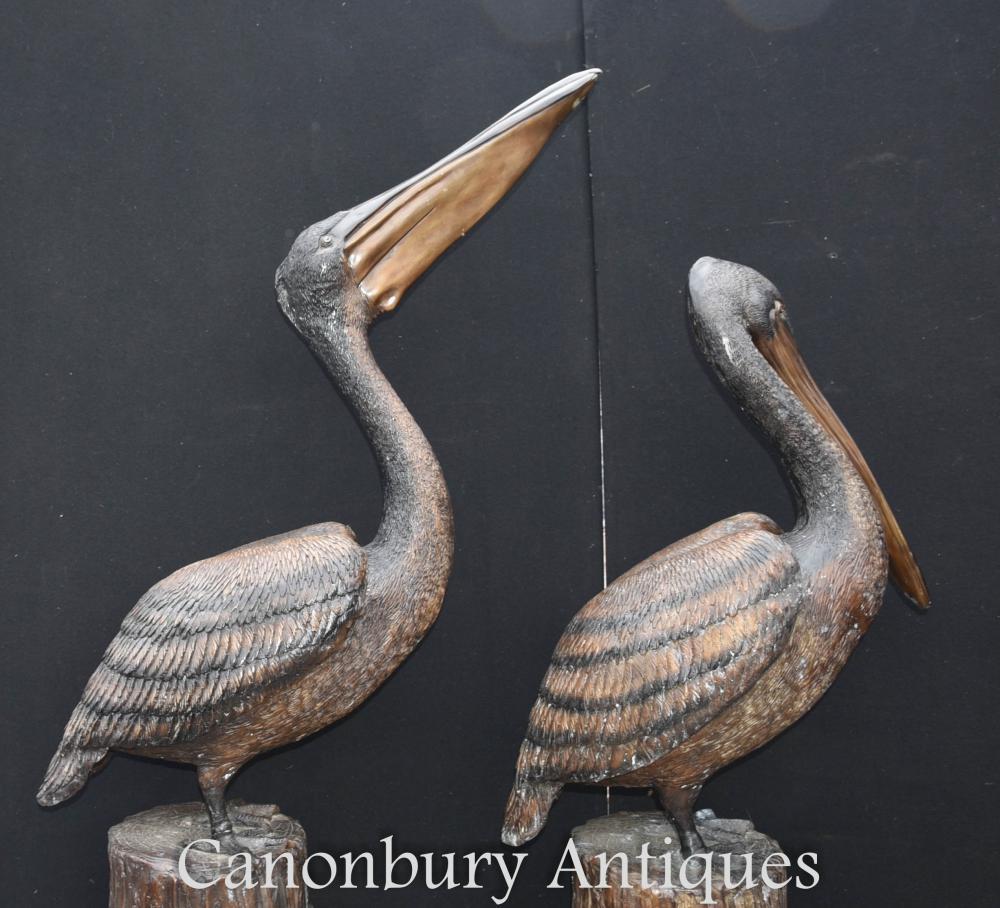 Paire Géant Bronze Pélican Pacifique Oiseaux Architectural Bronze