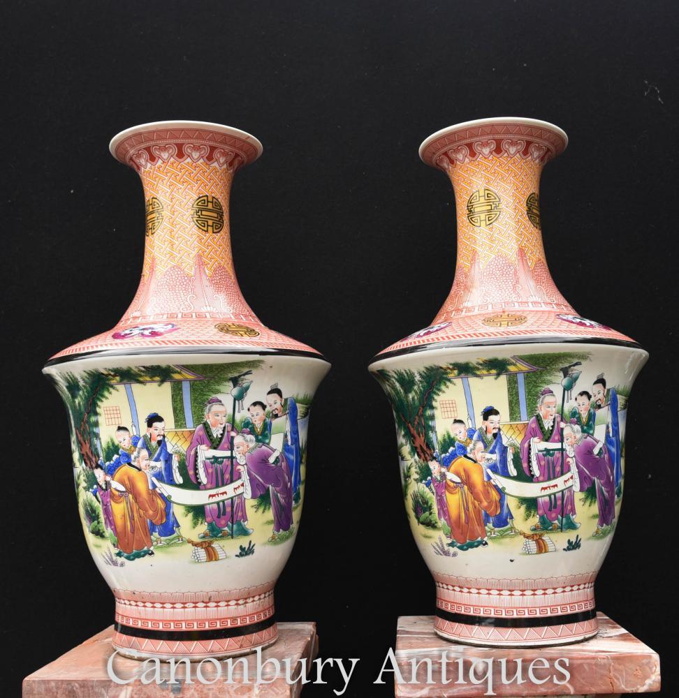 Paire Urnes Japonaises Vases en Porcelaine Kutani