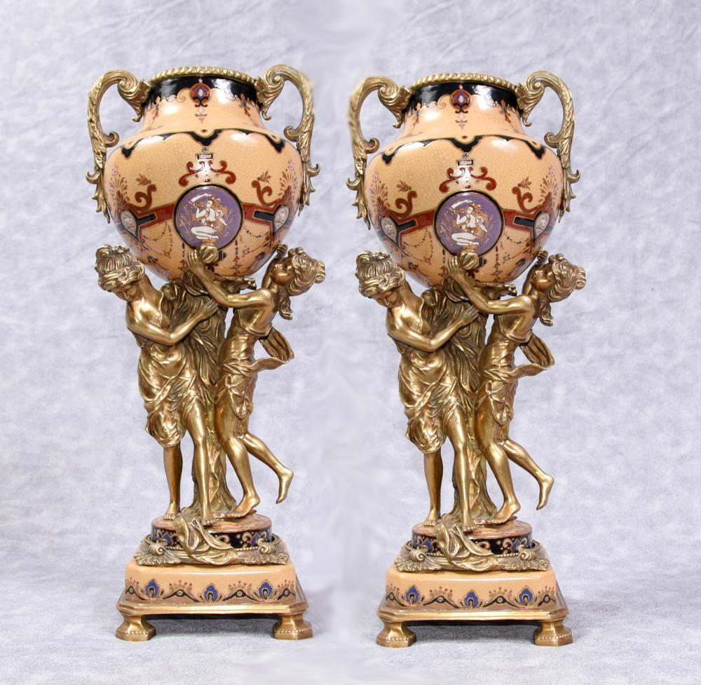 Paire Urnes Vases Maiden Ormolu Porcelaine