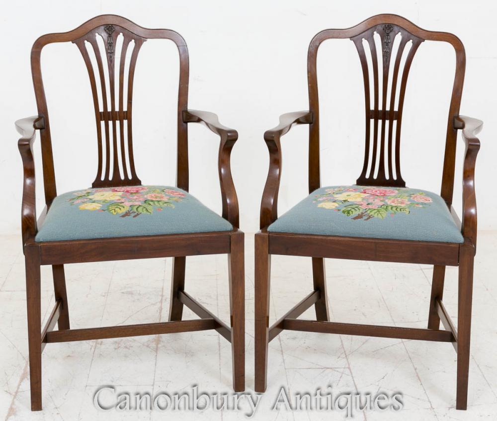 Paire bras acajou Hepplewhite sculpteurs de chaises salle à manger