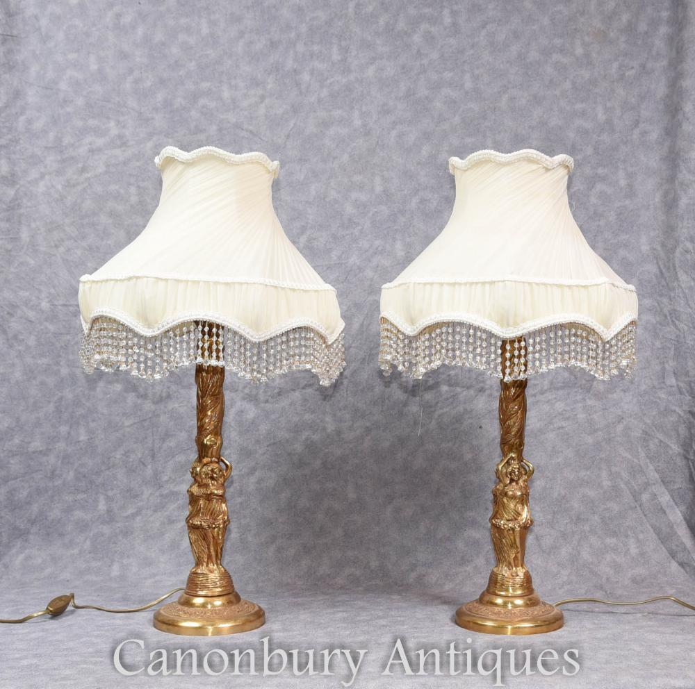 Paire de Lampes de Table Empire Gilt Empire