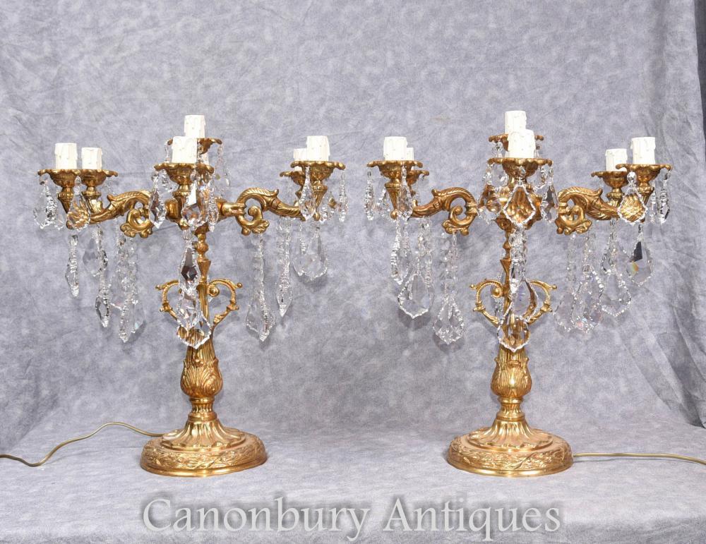 Paire de candélabres dorés Louis XVI Lampes de table Ormolu