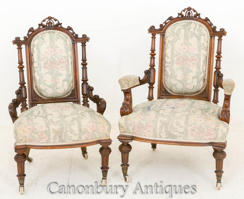 Paire de chaises de bras de noyer victoriennes Chaise de salon His and Hers 1860