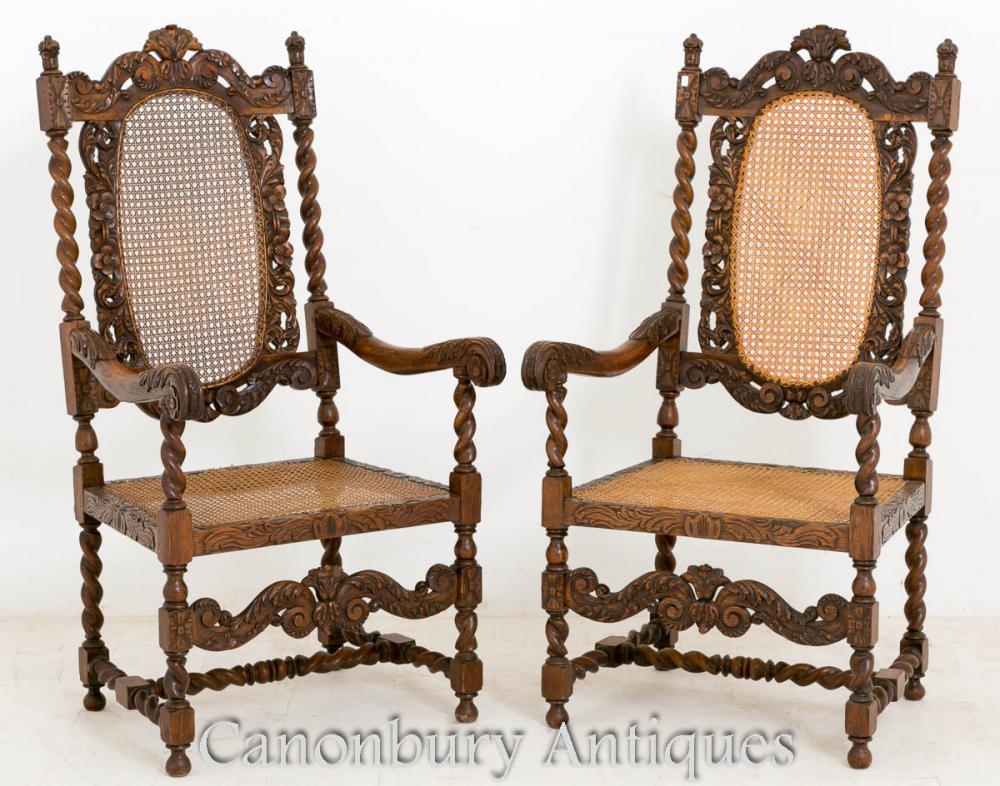 Paire de fauteuils en chêne Carolean Farmhouse 1880