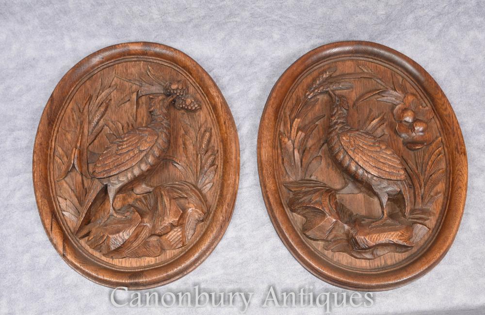 Paire de plaques d'oiseaux de la Forêt-Noire allemande Pheasant 1910