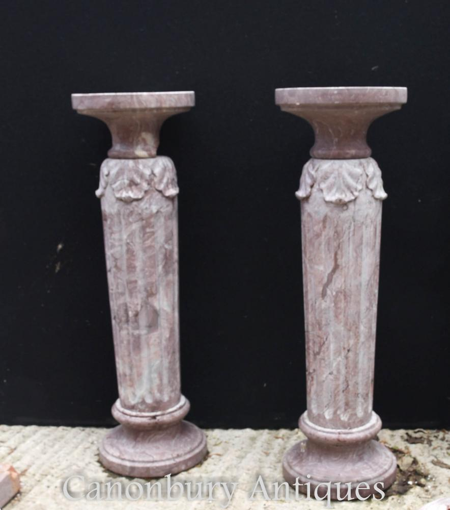 Paire de supports de table classiques en pierre de marbre classiques en paire
