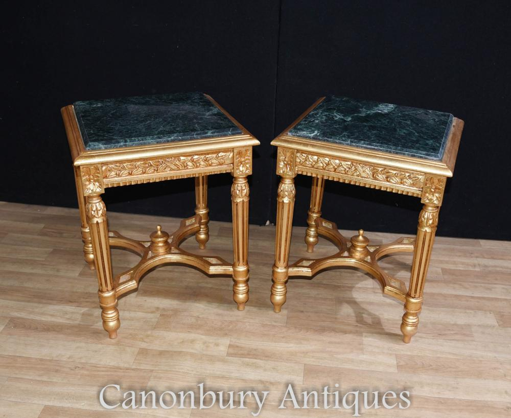 Paire de tables d'appoint dorées Empire