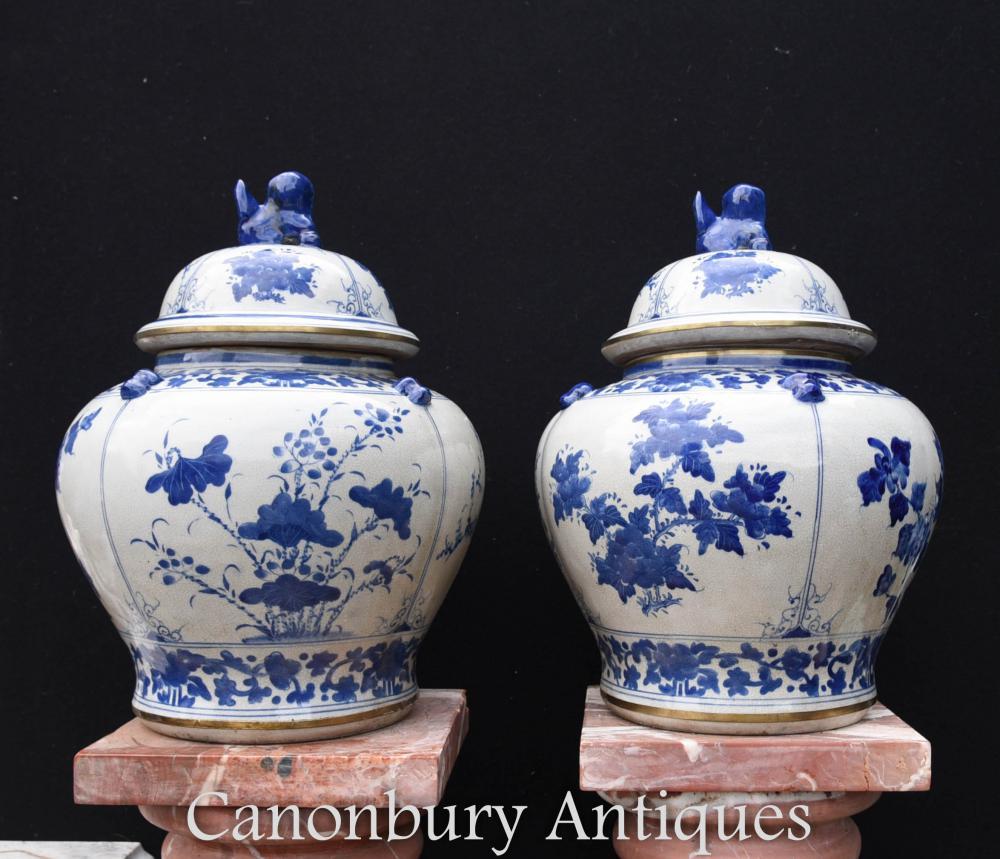 Paire de vases chinois en porcelaine bleue et blanche à couvercle en urne Kangxi