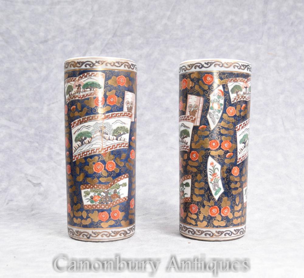 Paire de vases en porcelaine Imari japonais grands vases urnes parapluie
