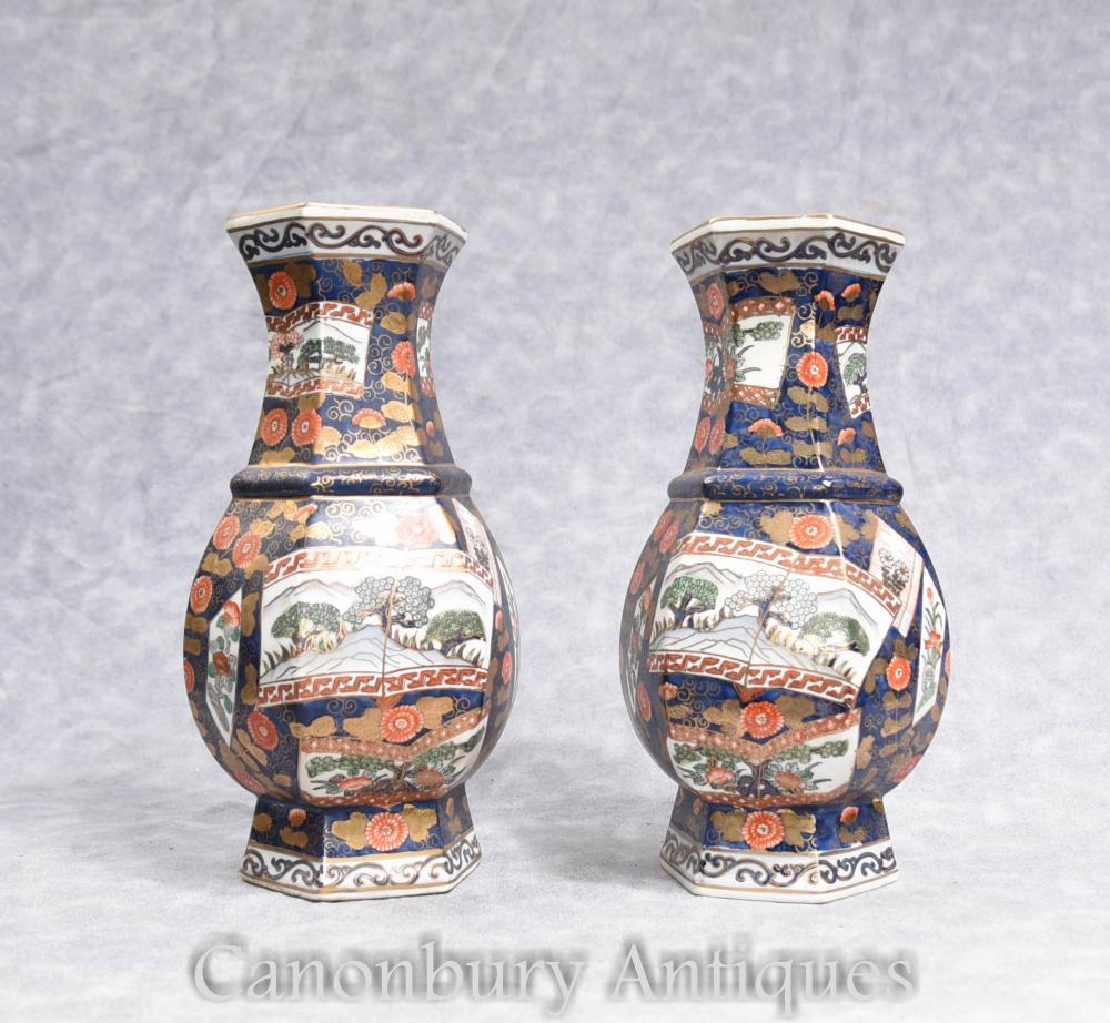 Paire de vases japonais en porcelaine Imari Urnes forme octogonale