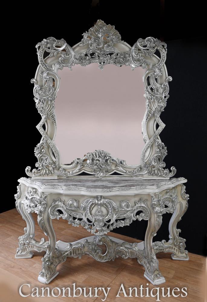 Peint en Italien Rococo Argent Doré Console Console et Miroir