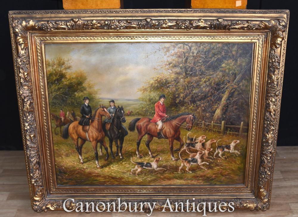Peinture à l'huile victorienne Fox Scène de chasse Signée