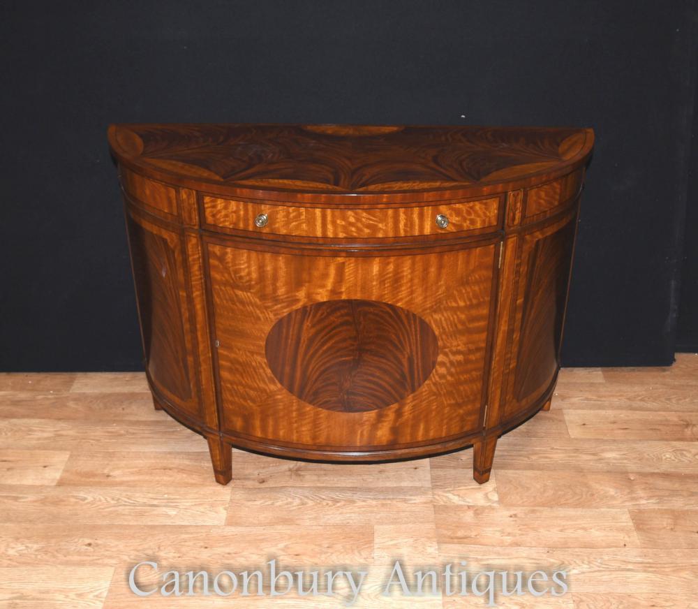 Regency Demi Lune Satinwood armoire serveur