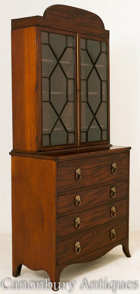 Regency Mahogany Secretaire Bibliothèque Bureau Cabinet 1800