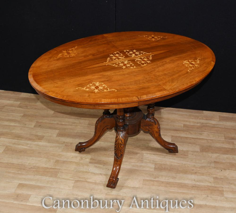 Regency Ovale Loo Table Inclinable Marqueterie Incrustation