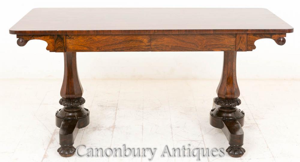 Regency Rosewood Library Table Bureau Bureau 19ème siècle