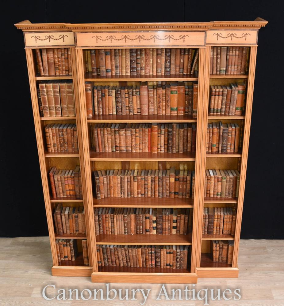 Regency Satinwood Open Bookcase Bibliothèques Sheraton Inlay Breakfront