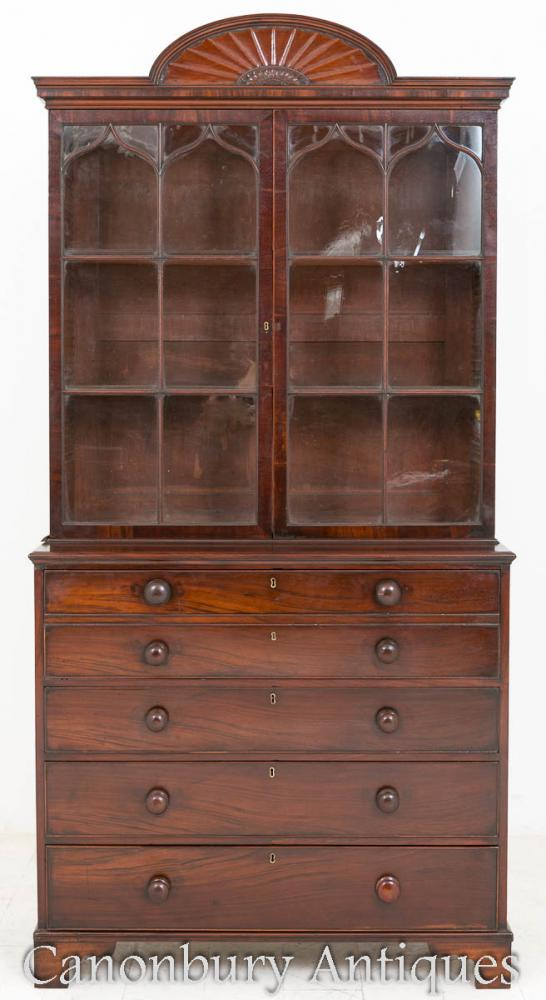 Regency Secretaire Bookcase Bureau d'armoires en acajou