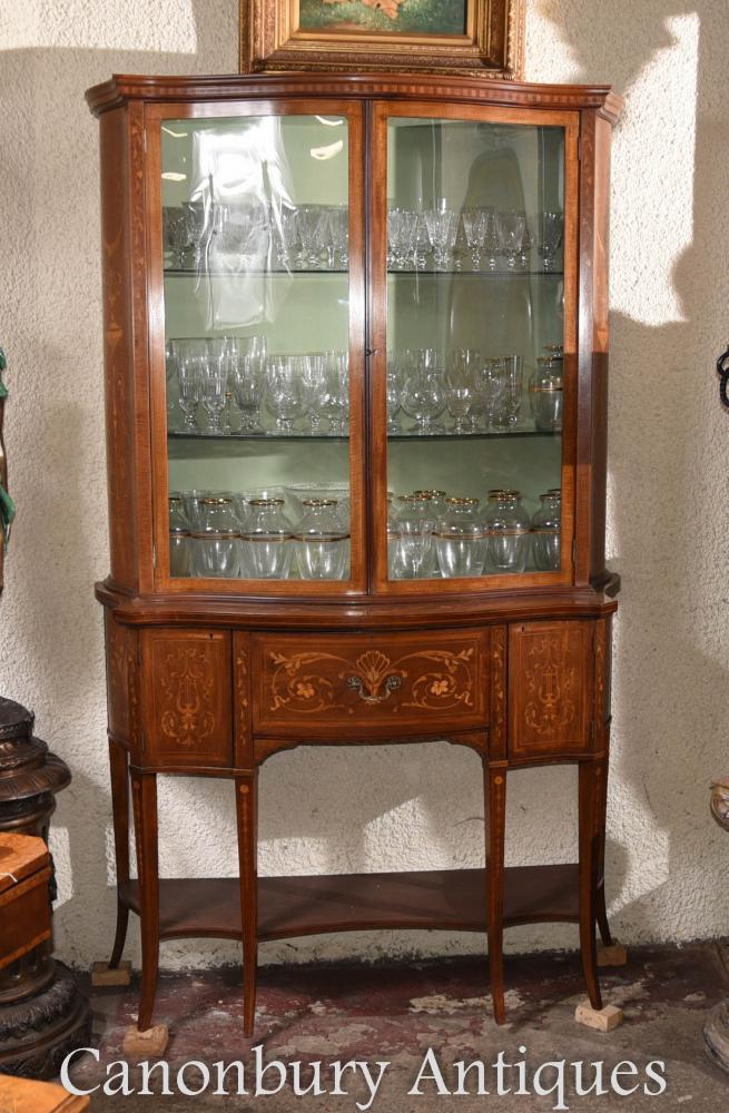 Regency Sheraton Bibliothèque vitrine en verre incrusté