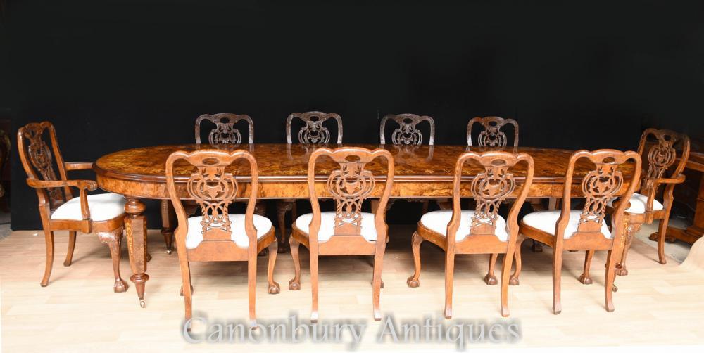 Salle à manger victorienne en noyer Table incrustée George II Chaises Suite