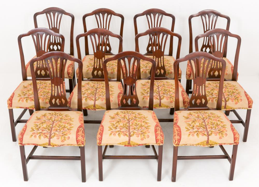 Set 11 chaises à manger Mahogany Hepplewhite