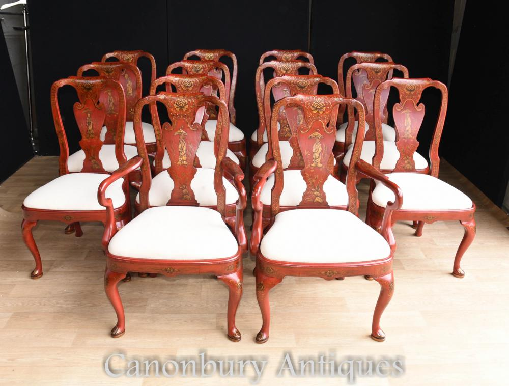 Set 14 Chaises de Salle à Manger Chinoises en Laque Rouge Chinoiserie